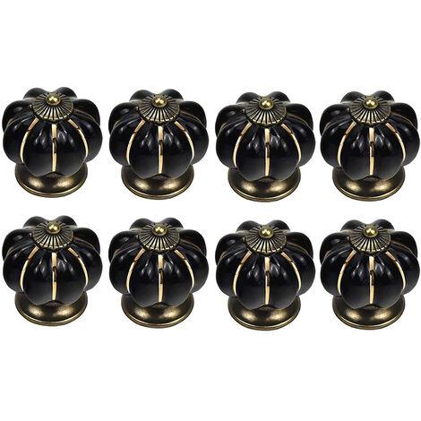 """main image of """"8 x Boutons de tiroir en céramique bouton de meuble forme citrouille pour tiroirs et placards de cuisine (Noir)"""""""