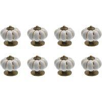8 x Boutons de tiroir en céramique bouton de meuble forme citrouille pour tiroirs et placards de cuisine (Noir)