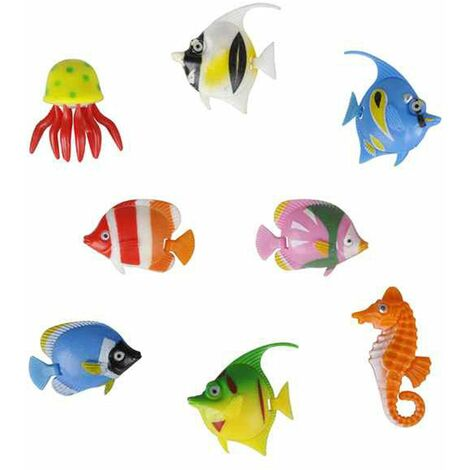 8 x Colourful Assorted Artificial Plastic Bubble Lamp Aquarium Tropical Fish Jellyfish & Seahorse