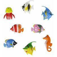 8 x Colourful Assorted Artificial Plastic Bubble Lamp Aquarium Tropical Fish Jellyfish & Seahorse