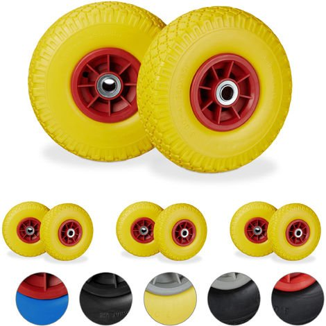 """8 x Hand Truck Tyre, Non-Flat Solid Rubber Wheels, 3.00-4"""", 20mm Axle, 80 kg, 260 x 85 mm, Yellow-Red"""