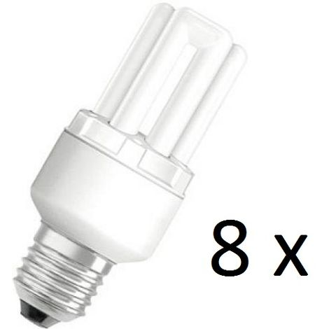 8 x Osram Dulux Star Superstar 8W/825 220-240V E27 Stick Lamp Light Bulb