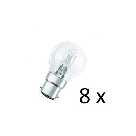 8 x Osram Halogen BC-B22 Eco Classic 42W Energy Saver Golf Ball Shape Light Bulb