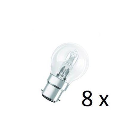 8 x Osram Halogen BC-B22 Eco Classic 42W Energy Saver Golf Ball Shape Light Bulb