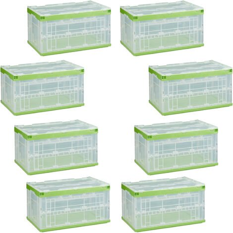 8 x Relaxdays Professional Storage Box, Sturdy, Commercial Crate, High Quality Plastic, Lidded, 60x40x32cm, Various Colors