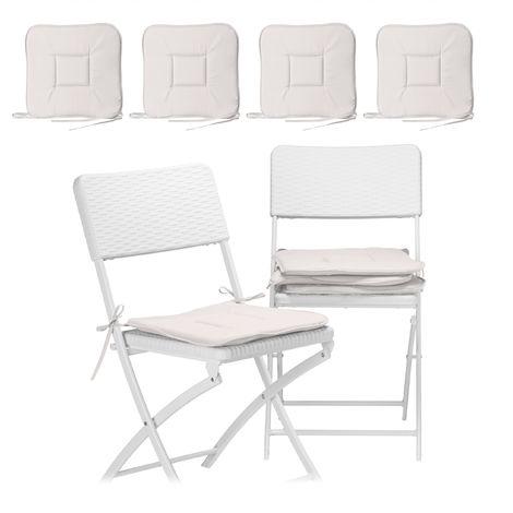 8 x Stuhlkissen, Sitzkissen mit Schleife, Auflage für Stühle, Haus und Garten, waschbar, Stuhlauflage Polyester, taupe