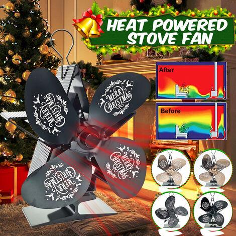 80 & # 8451;en 400 & # 8451;Energía térmica Navidad Ventilador de rango de 5 aspas Silencioso y ecológico Ahorro de combustible Ventilador de chimenea Quemador de madera / leña Ventilador térmico Calentador de invierno