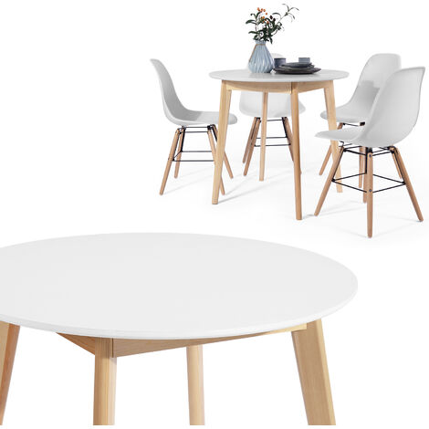 80 cm round dining table, modern retro design with wooden legs, white color