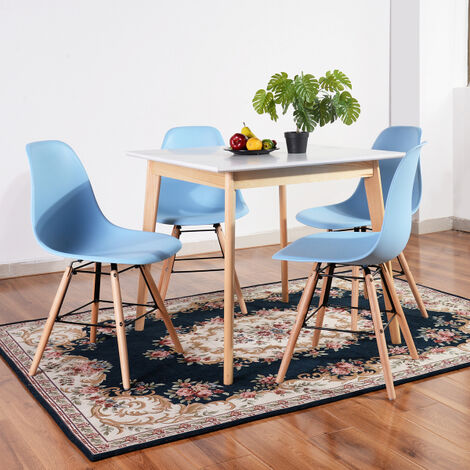 80 cm square dining table, modern retro design with wooden legs, white color