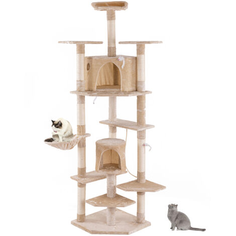 80 inch(201CM) High Solid Cat Climb Tree Cat Tower Cat Play House Furniture Cute Sisal Rope Plush-Different colors