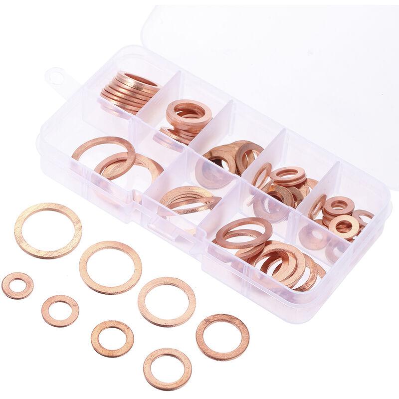 80 pieces/ensemble M6-M20 8 tailles rondelles de joint en cuivre massif bague d'etancheite 8 tailles Kit de joint d'anneau plat pour accessoires de