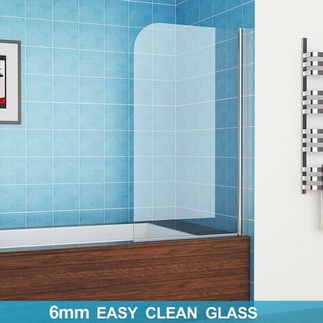 800 mm Bath Screens Shower Screen 180°Pivot Easy Clean Glass Panel Shower Door Without Towel Rail