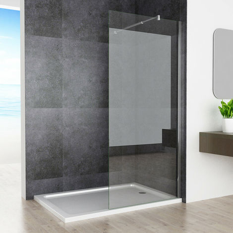 800 mm Shower Enclosure 8mm Easy Clean Nano Glass Wet Room Screen Walk in Adjustable Support Bar Panel 1950 mm Height