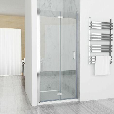 800 mm x 1850mm Shower Enclosure Cubicle Door Frameless Bathroom 6mm Easy Clean Nano Glass Bifold Door - No Tray