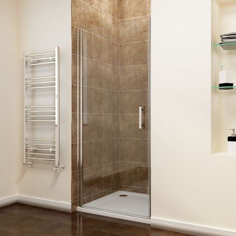 800 x 1700mm Frameless Pivot Shower Door Enclosure 6mm Safety Glass Reversible Shower Cubicle Door + Shower Tray