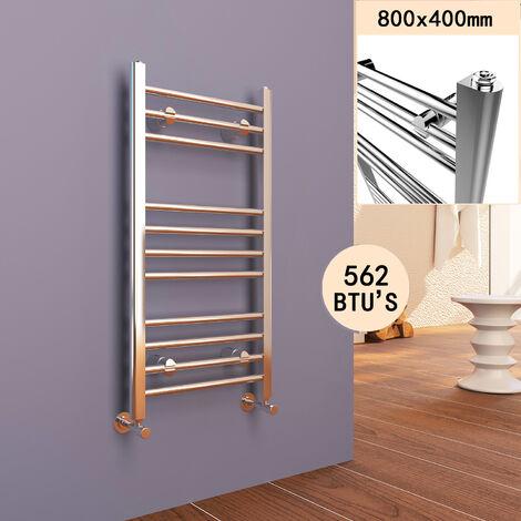 800 x 400 mm Straight Towel Rail Radiator Chrome Bathroom Radiator