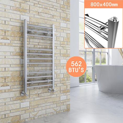 800 x 400 mm Straight Towel Rail Radiator Chrome Bathroom Radiator + Angled Radiator Valves