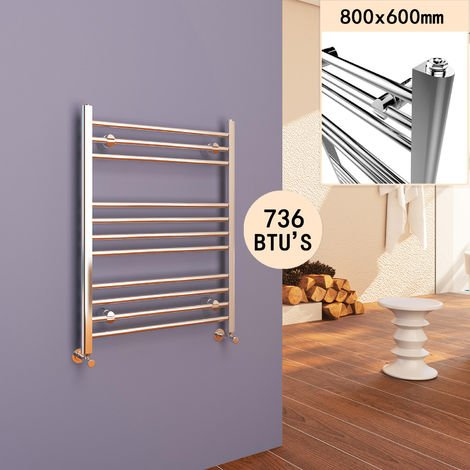 800 x 600 mm Straight Towel Rail Radiator Chrome Bathroom Radiator