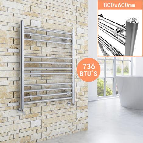 800 x 600 mm Straight Towel Rail Radiator Chrome Bathroom Radiator + Angled Radiator Valves