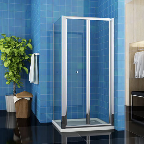 800 x 800 mm Bifold Glass Shower Enclosure Reversible Folding Shower Cubicle Door with Side Panel + Stone Tray