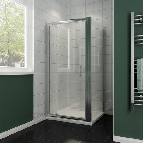 800 x 800 mm Pivot Hinge Shower Enclosure 6mm Safety Glass Shower Screen Reversible Cubicle Door with Side Panel Set