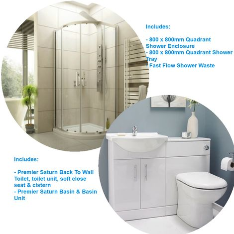 800 X 800 Quadarant Shower Enclosure With Toilet And Basin Suite