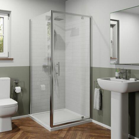 800 x 800mm Pivot Shower Door Side Panel Enclosure 6mm Glass Framed Stone Tray
