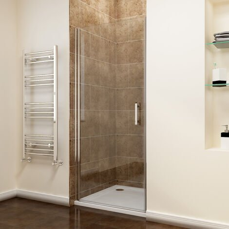 800 x 900mm Frameless Pivot Shower Door Enclosure 6mm Safety Glass Reversible Shower Cubicle Door + Shower Tray