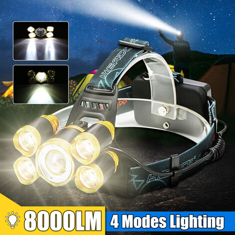 8000LM Super Bright 5 LED Zoomable 4 Modes Phare Lampe frontale étanche