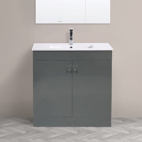 """main image of """"800mm 2 Door Gloss Grey Wash Basin Cabinet Floor Standing Vanity Sink Unit Bathroom Furniture"""""""