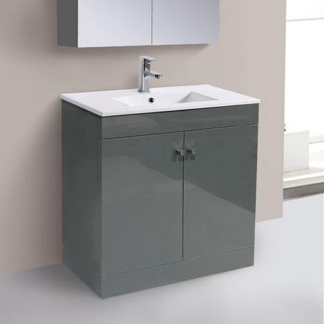 800mm 2 Door Gloss Grey Wash Basin Cabinet Vanity Sink Unit Bathroom Furniture