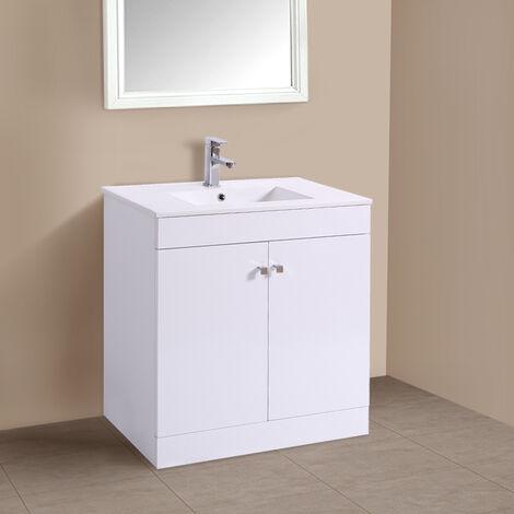 "main image of ""800mm 2 Door Gloss White Wash Basin Cabinet Floor Standing Vanity Sink Unit Bathroom Furniture"""