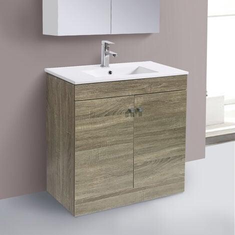 800mm 2 Door Grey Oak Effect Wash Basin Cabinet Floor Standing Vanity Sink Unit Bathroom Furniture