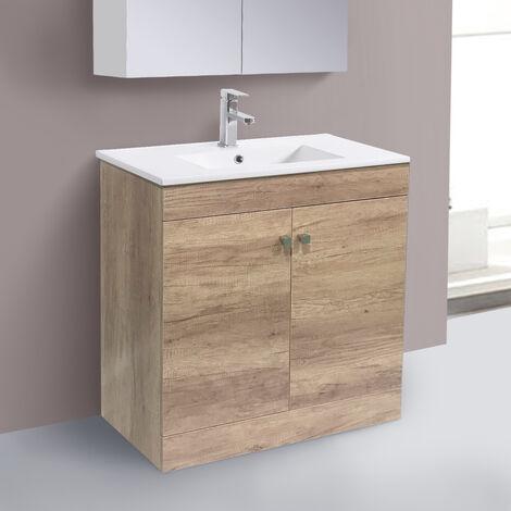 800mm 2 Door Light Oak Effect Wash Basin Cabinet Floor Standing Vanity Sink Unit Bathroom Furniture