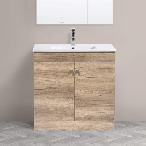 800mm 2 Door Light Oak Effect Wash Basin Cabinet Vanity Sink Unit Bathroom Furniture
