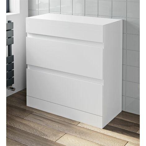 800mm Bathroom Countertop Vanity Unit Floor Standing Drawers White Gloss