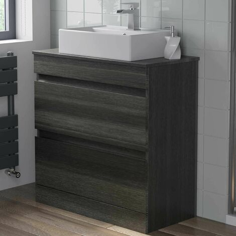 800mm Bathroom Furniture Countertop Vanity Unit Basin Charcoal Grey