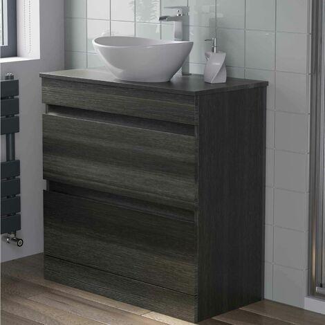 800mm Bathroom Furniture Countertop Vanity Unit Oval Basin Charcoal Grey