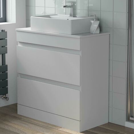 800mm Bathroom Furniture Countertop Vanity Unit Rectangular Basin Gloss White