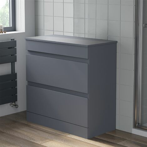 800mm Bathroom Unit Floor Standing Soft Close Drawer Gloss Grey Stylish