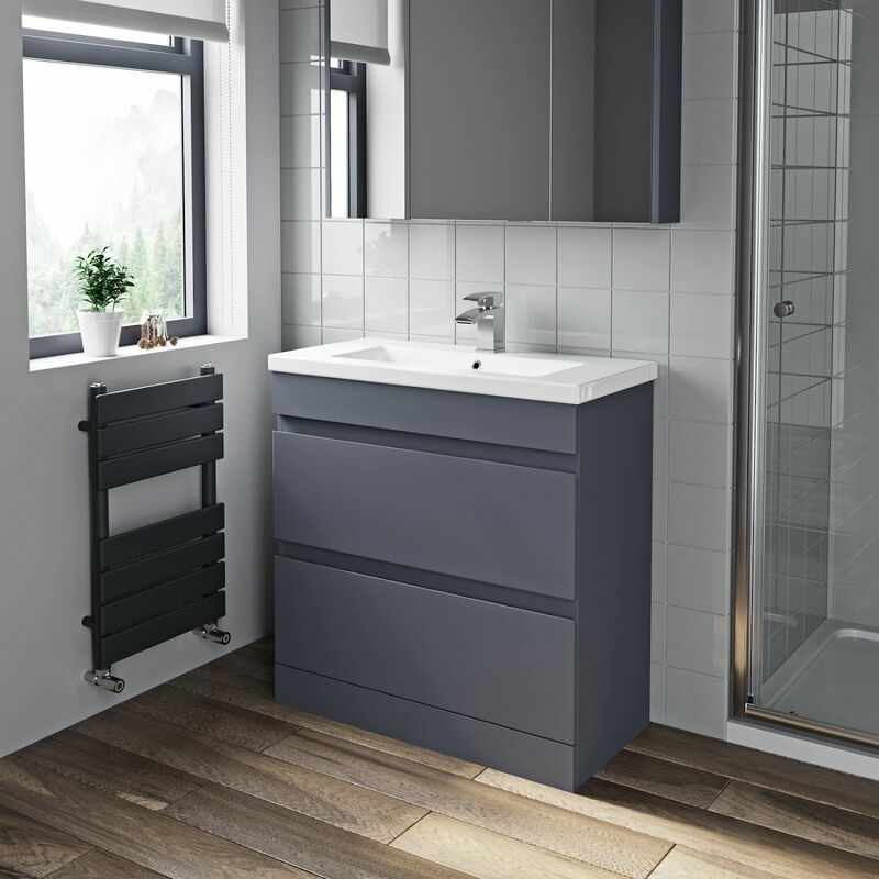 Brilliant 800Mm Bathroom Vanity Unit Basin 2 Drawer Cabinet Unit Gloss Grey Download Free Architecture Designs Itiscsunscenecom