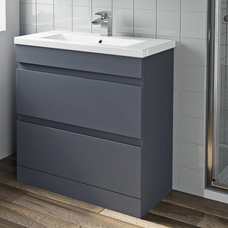 800mm Bathroom Vanity Unit Basin 2 Drawer Cabinet Unit Gloss Grey