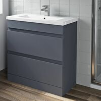 800mm Bathroom Vanity Unit Basin 2 Drawer Cabinet Unit Gloss Grey