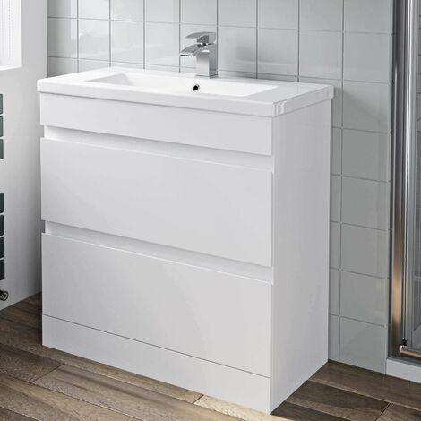 800mm Bathroom Vanity Unit Basin 2 Drawer Cabinet Unit Gloss White