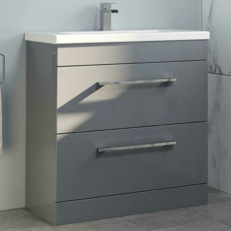 800mm Bathroom Vanity Unit Basin Drawer Cabinet Contemporary Grey