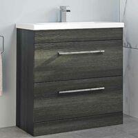 800mm Bathroom Vanity Unit Basin Drawer Cabinet Contemporary Grey