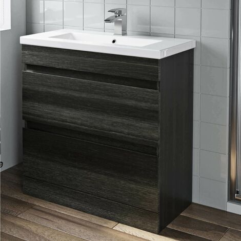 800mm Bathroom Vanity Unit Basin Drawer Cabinet Unit Charcoal Grey