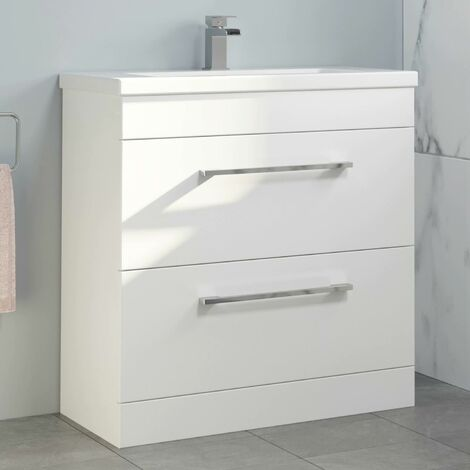 800mm Bathroom Vanity Unit Basin Drawer Cabinet Unit Gloss White