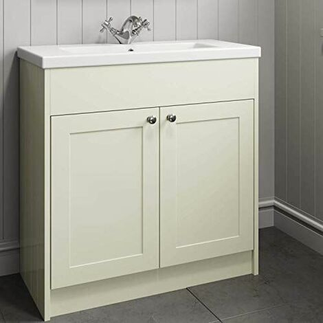 800mm Bathroom Vanity Unit Basin Storage Cabinet Ivory Traditional