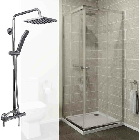 800mm Corner Entry Enclosure 4mm Glass Bathroom Thermostatic Mixer Shower Set
